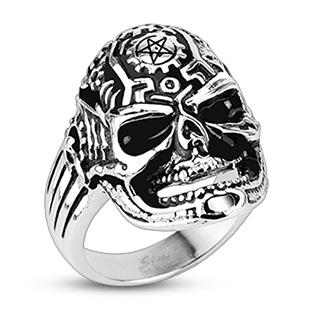 Bague acier tête de démon à motifs engrenage et pentagramme