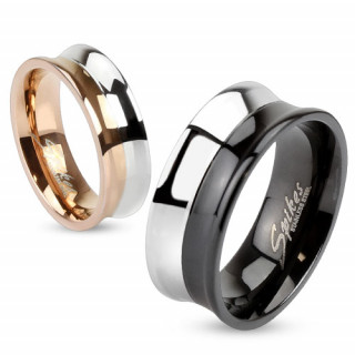 Bague de couple en acier concave et bicolore