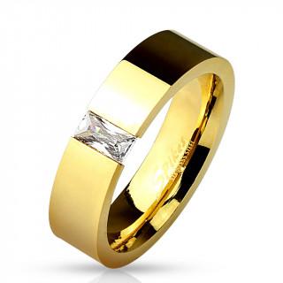 Bague dorée mixte dorée en acier à pierre rectangulaire facettée