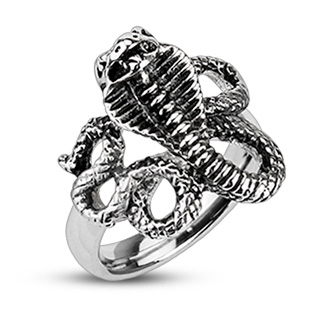 acheter populaire eb8c9 a622a Vente Bague homme acier avec serpent Cobra