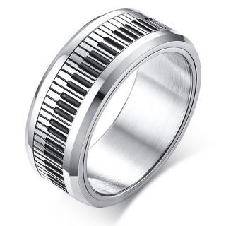 Bague homme acier à clavier piano (anneau anti-stress)