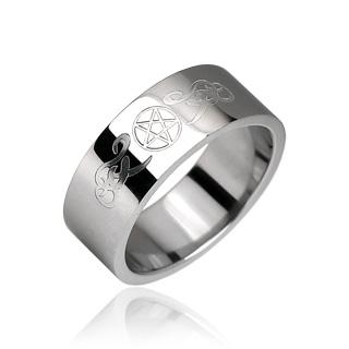 Bague  homme acier symboles tribaux et pentagramme