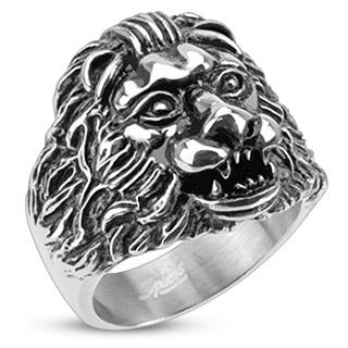 mieux aimé c6fe0 102bf Vente Bague homme acier à tête de lion scuptée