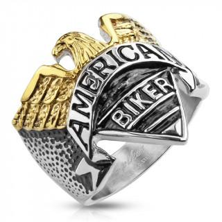 """Bague homme """"Américan Biker"""" en acier avec aigle doré"""