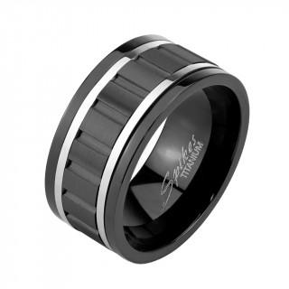 Bague homme anti-stresse en titane noir avec anneau cranté