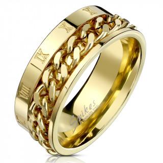 Bague homme dorée en acier à chiffres romains et chaine
