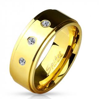 Bague homme dorée en acier à trio de pierres claires
