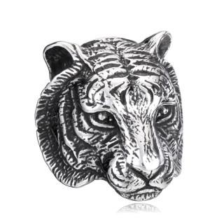 Bague homme en acier à tête de tigre
