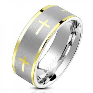Bague homme en acier brossé et poli à croix et lignes dorées