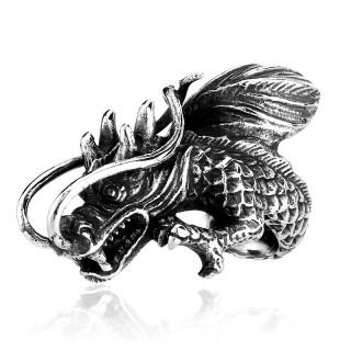 Bague homme en acier en forme de dragon chinois