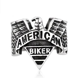 """Bague homme en acier gravé """"American Biker"""" avec aigle"""