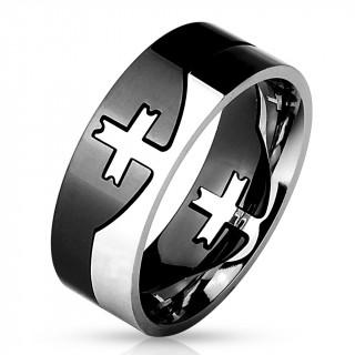 Bague homme noire et argentée en acier style puzzle avec croix