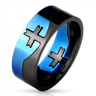 Bague homme noire et bleue en acier style puzzle avec croix