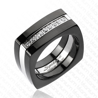Bague homme titane Black and White