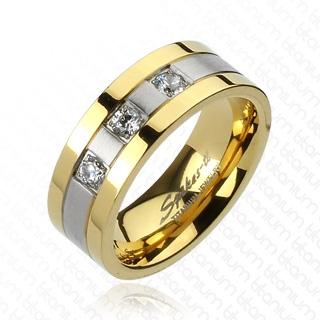 Bague homme titane à trois anneaux en deux tons