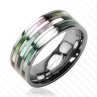 Bague homme titane Abalone