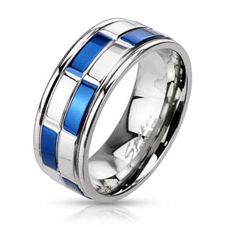 Bague mixte acier damier bleu et argenté