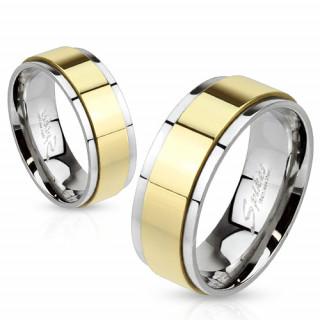 Bague mixte en acier avec anneau tournant doré