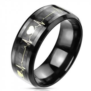 Bague mixte noire en acier à electrogramme d'amour