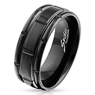 Bague noire en acier à design compartimenté