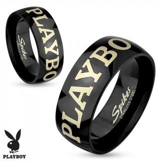 """Bague noire mixte en acier avec inscription """"Playboy"""" (licence officielle)"""