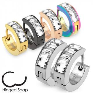 Boucle d'oreilles anneaux mixtes à bande de pierres claires