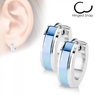 Boucles d'oreille acier à bande bleue