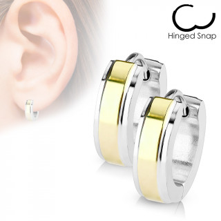 Boucles d'oreille acier à bande dorée