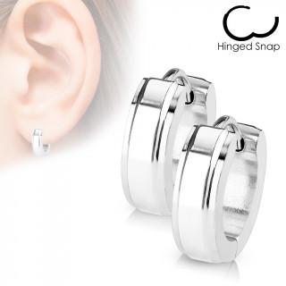 Boucles d'oreille acier à bande polie