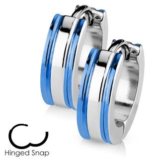 Boucles d'oreille acier à lignes latérales bleues