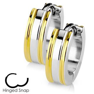 Boucles d'oreille acier à lignes latérales dorées