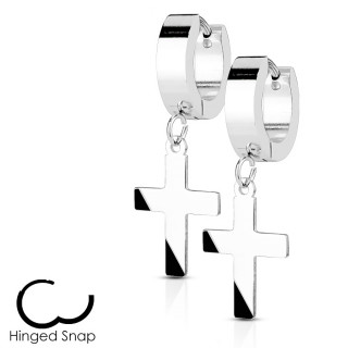 Boucles d'oreille acier à pendentif croix