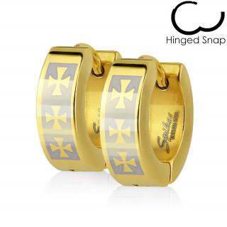 Boucles d'oreille dorées acier à croix de Malte