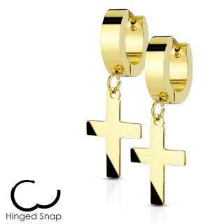 Boucles d'oreille dorées acier à pendentif croix