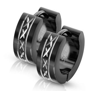 Boucles d'oreille noires acier à croisillons gravés (paire)