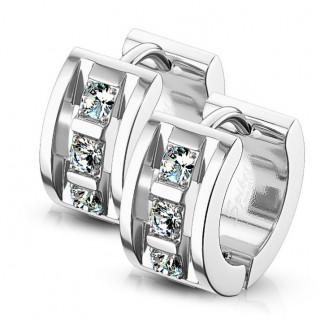 Boucles d'oreille serties style architectural en acier (paire)