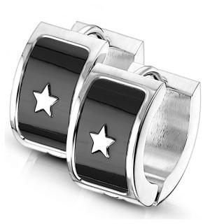 Boucles d'oreilles acier à étoile rock sur fond noir (paire)