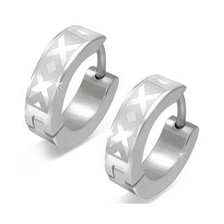 Paire de boucles d'oreilles acier à X et losanges en relief