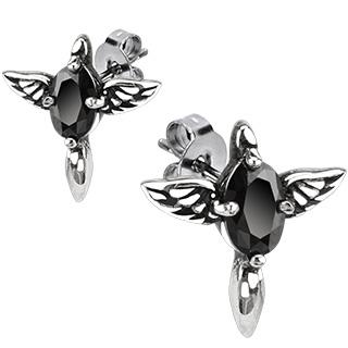 Boucles d'oreilles acier croix ailées à pierre noire