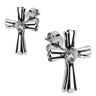 Boucles d'oreilles acier croix latines serties