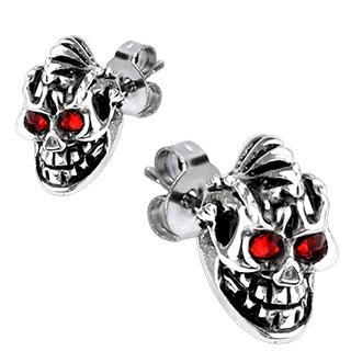 Boucles d'oreilles acier démons à crète et yeux rouges