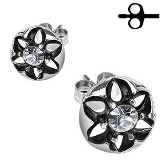 Boucles d'oreilles acier fleur sertie