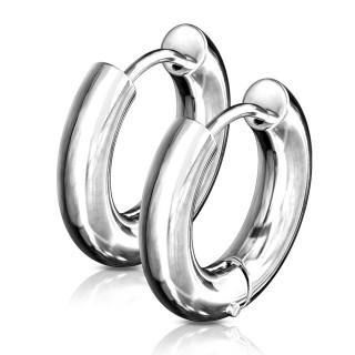 Boucles d'oreilles créoles épaisses inox en acier (paire)