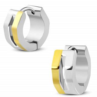 Boucles d'oreilles exagonales en acier doré et argenté avec encoche