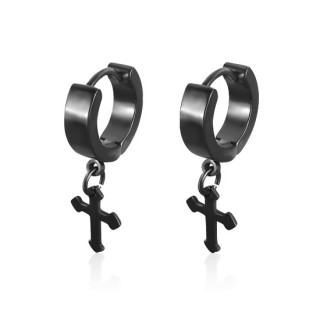 vente paire de boucles d 39 oreilles homme black cross. Black Bedroom Furniture Sets. Home Design Ideas