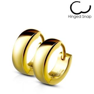 Boucles d'oreilles homme bombées dorées en acier (paire)