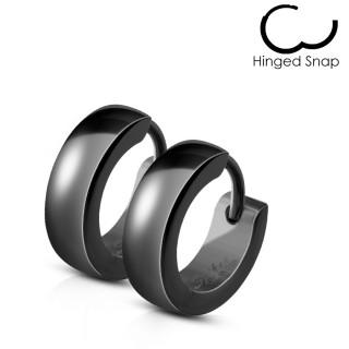 Boucles d'oreilles homme bombées noires en acier (paire)
