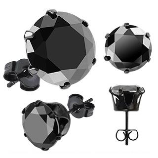 Paire de boucles d'oreilles homme Dark Hexagon