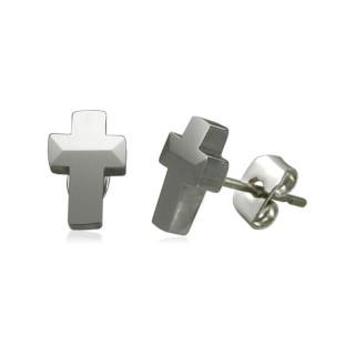 Boucles d'oreilles homme tungstène croix latine