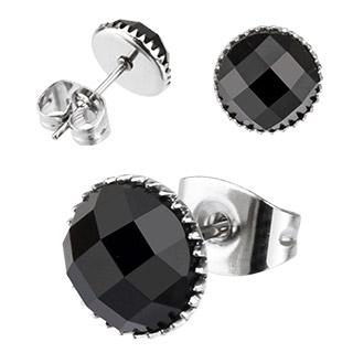 Boucles d'oreilles rondes à pierres noires facettées